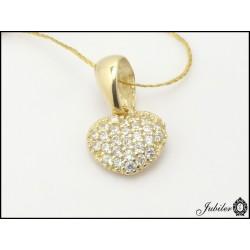 Złota zawieszka - serce zdobione cyrkoniami ( 31354,31355)