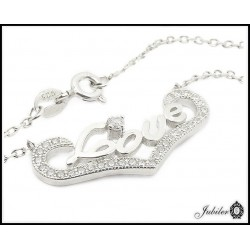 Srebrny naszyjnik LOVE zdobiony cyrkoniami 925  7545895163