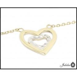 Złoty naszyjnik serce w sercu (27132)
