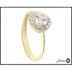 Złoty pierścionek zdobiony cyrkoniami (26416)