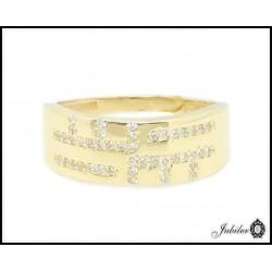 Złoty pierścionek zdobiony cyrkoniami (24777)