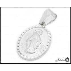 SREBRNY medalik z Matką Boską próba 925 13x19 mm  7556512168
