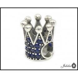 Srebrna zawieszka charms KORONA p.925 niebieska (7454782819)