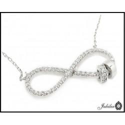 Duży Srebrny naszyjnik NIESKOŃCZONOŚĆ z Cyrkoniami  6996765815