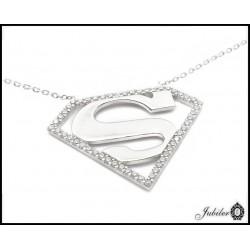 Piękny SREBRNY naszyjnik SUPERMAN z cyrkoniami 925   7046000375