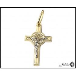 ZŁOTY 14K Krzyżyk z JEZUSEM - z cyrkoniami 17x28mm  7632840343