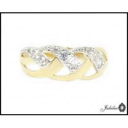 Złoty pierścionek zdobiony cyrkoniami (24799)