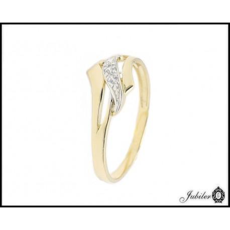 ZŁOTY p.585 (14K) pierścionek z CYRKONIAMI roz.16  7657092092