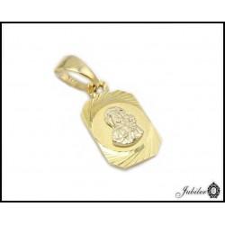 Piękny ZŁOTY medalik diamentowany Matka Boska 585 4963