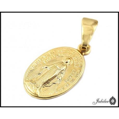 ZŁOTY 14K p.585 Owalny medalik z MATKĄ BOSKĄ
