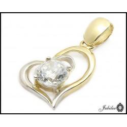 Złota zawieszka - serce z cyrkoniami (32436)