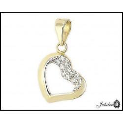 Złota zawieszka zdobiona cyrkoniami - serce