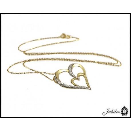 Piękny złoty, włoski naszyjnik celebrytka serce