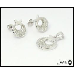 Srebrny komplet kolczyki i zawieszka, zdobione cyrkoniami (21819)
