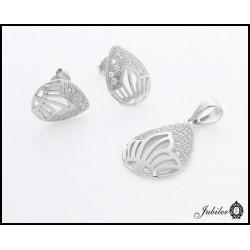 Srebrny komplet kolczyki i zawieszka, zdobione cyrkoniami (21815)