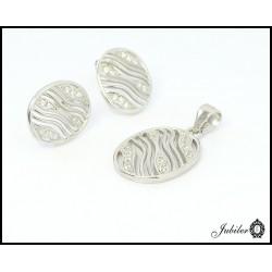 Srebrny komplet kolczyki i zawieszka, zdobione cyrkoniami (21817)