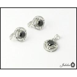 Srebrny komplet kolczyki i zawieszka, zdobione cyrkoniami (21816)
