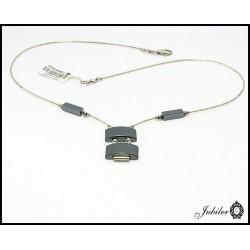 Srebrny naszyjnik z hematytami (05429)