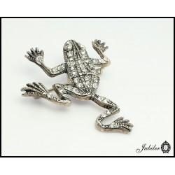 Srebrna broszka - żaba (05579)