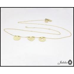 Złoty naszyjnik celebrytka potrójny motyw koło, serce i ring
