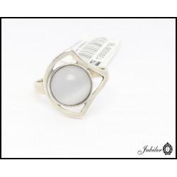 Srebrny pierścionek zdobiony kocim okiem (06196)