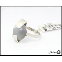 Srebrny pierścionek zdobiony kocim okiem (06198)
