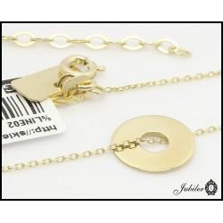 Złoty naszyjnik - celebrytka  - pierścień, ring
