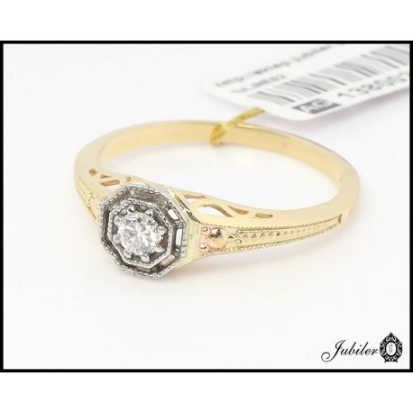 Złoty pierścionek z brylantem (26311)