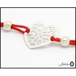 Bransoletka sznurkowa ze srebrnym ażurowym sercem (26644)