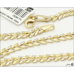 Piękny złoty łańcuszek zdobiony rodowaniem (31057)