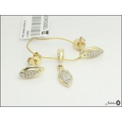 Złoty komplet z cyrkoniami - zawieszka i kolczyki (1380034520)