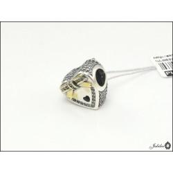 Srebrna zawieszka - charms - serce z cyrkoniami - bransoletki modułowe (1380034799)