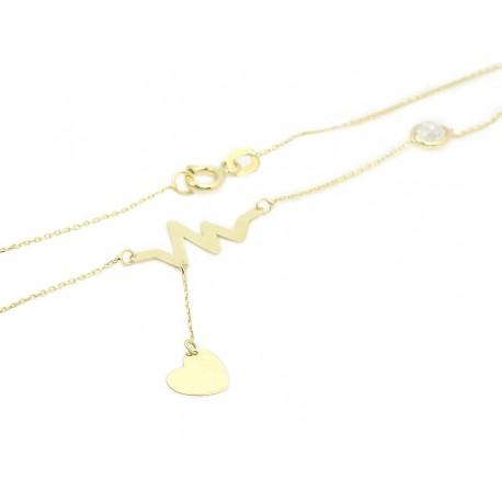 6fb4eccaeecc3c Nowy Złoty naszyjnik - celebrytka - serce kardiogram  (1380033411,33412,33413)