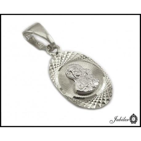 Srebrny medalik - Matka Boska z Dzieciątkiem - rodowany (31569,31572)