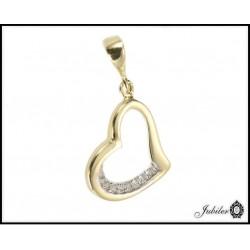 Złota zawieszka - serce zdobione cyrkoniami (31351)