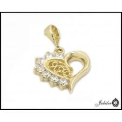 Złota zawieszka serce zdobione cyrkoniami (31350)