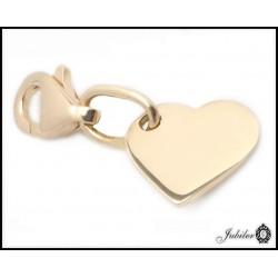 Zawieszka charms serce czerwone złoto (32636)