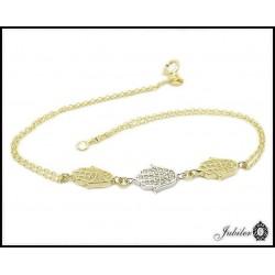 Piękna złota bransoletka z cyrkoniami (27165)