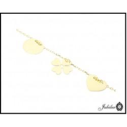 Złota bransoletka celebrytka serce koniczynka koło (31411-31415)