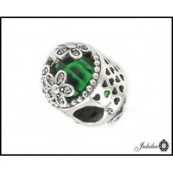Srebrna zawieszka - charms - zdobiona zielona cyrkonią (1380034803)