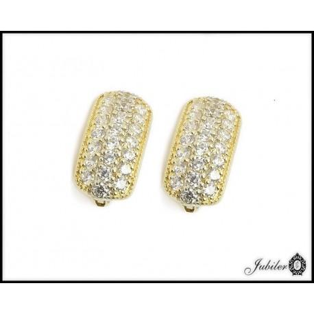 Złote kolczyki zdobione cyrkoniami (26379)
