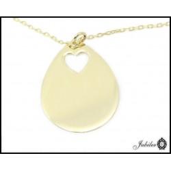 Złoty naszyjnik celebrytka - duża zawieszka z motywem serca