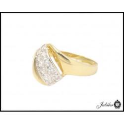 Złoty pierścionek zdobiony cyrkoniami (24779)