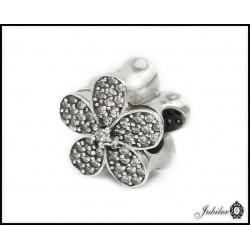 Srebrna zawieszka - charms - kwiatek (1380034726)