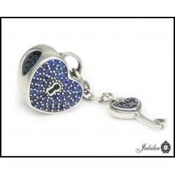 Srebrna zawieszka - charms - serce i klucz (1380034720)