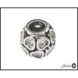 Srebrna zawieszka - charms - kulka z sercami (1380034811)i