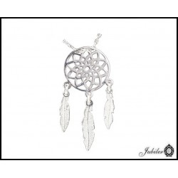 Srebrny naszyjnik - amulet - łapacz snów  (32375-32381)