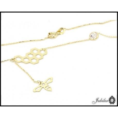 Złoty naszyjnik - celebrytka - plaster miodu i pszczoła (1380033401-33403)