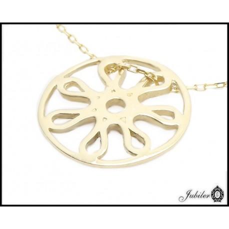 Złoty naszyjnik - celebrykta - ażurowe koło