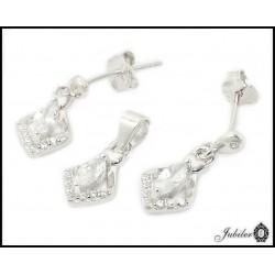 Piękny srebrny komplet - kolczyki i zawieszka (32353)